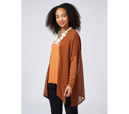 WynneLayers Mixed Media Dolman Sleeve Open Front Cardigan with Side Slits