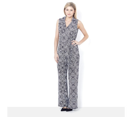 Sleeveless Printed Jumpsuit with Shirt Collar by Nina Leonard