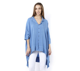 Join Clothes Button Front Dip Back Hem Shirt - 160518