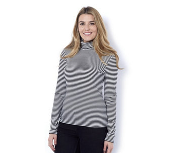 Betty & Co Stripe Roll Neck Top - 162818