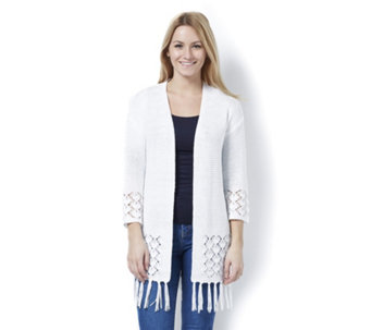 Marble Edge to Edge Loose Fit Cardigan with Pointelle and Fringe Detail - 162918