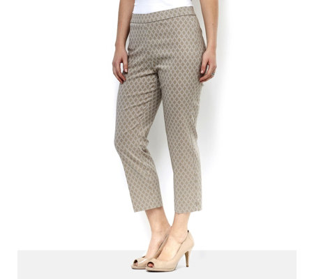 Printed Stretch Pull On Crop Trousers by Susan Graver