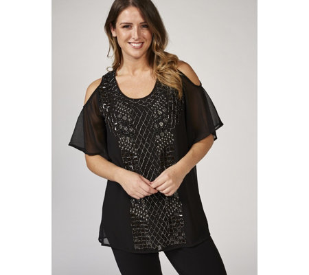 Together Cold Shoulder Beaded Tunic