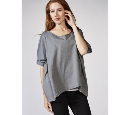 Join Clothes Stretch Poplin Cropped Tunic Top