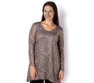 Kim & Co Shimmer Leo Long Sleeve Tunic with V Neckline