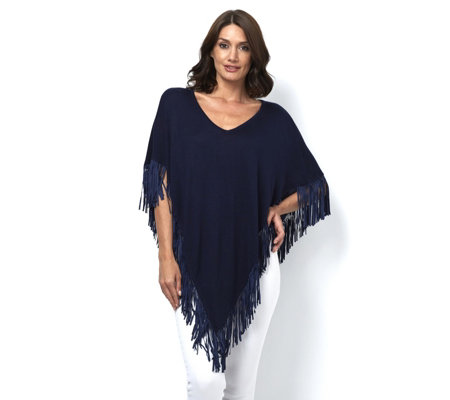 Attitudes By Renee Sweater Knit Poncho with Fringe