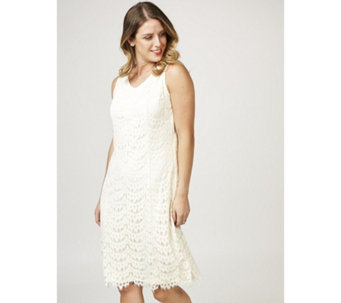 Isaac Mizrahi Live Sleeveless Ombre Lace Dress with Scalloped Hem - 165319