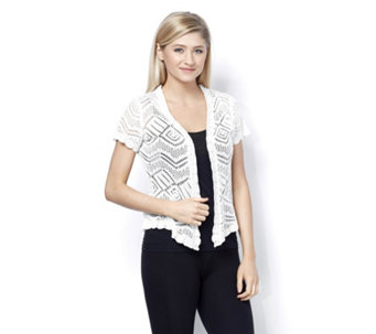 Absolutely Famous Short Sleeve Pointelle Shrug - 159020