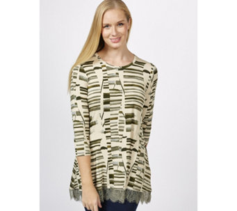 Logo by Lori Goldstein Printed Top with Back Yoke & Lace Hem - 162720