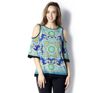 Printed Liquid Knit Cold Shoulder Top by Susan Graver - 163720