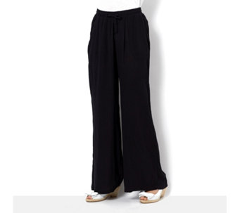 Wide Leg Drawstring Waist Trousers by Nina Leonard - 165120