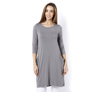 Join Clothes 3/4 Sleeve Dress with Drape Pocket Detail - 165220