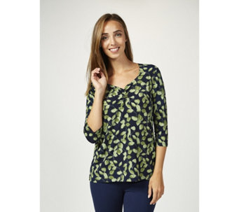 Kim & Co Monochromatic Leaves 3/4 Sleeve Sweetheart Top - 167320