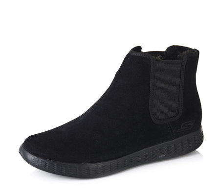 Skechers On The GO Glide Suede Chelsea Boot with Faux Fur Lining