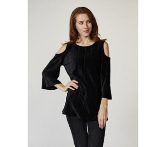 Dennis Basso Pleated Stretch Velvet Cold Shoulder Top - 168120