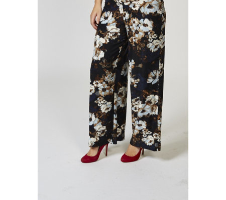 Kim & Co Floral Masterpeice Brushed Venechia Palazzo Trousers Regular