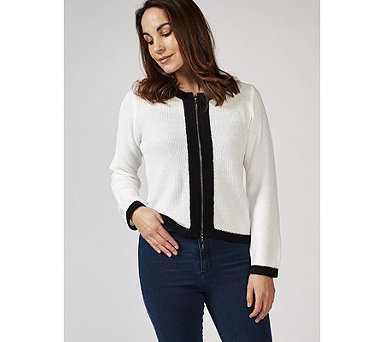 Marble Long Sleeve Cardigan with Contrast Colour Trim - 169720