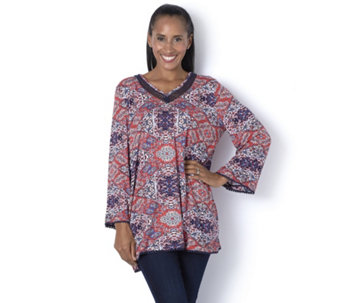 Together Lace Neckline Printed Top - 164321