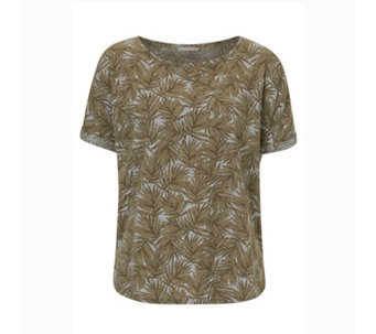 Betty & Co Turn Up Sleeve Palm Print Top - 164821
