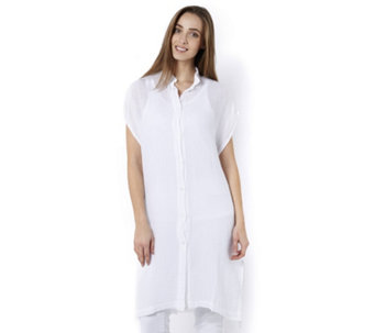 Join Clothes Soft Cotton Button Through Long Line Shirt - 165221