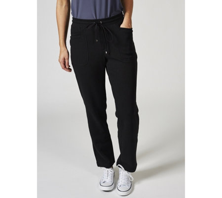 Isaac Mizrahi Live Soho Petite Brushed Back Fleece Trousers