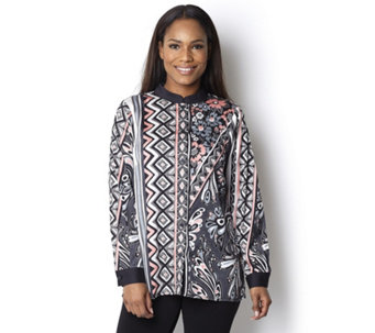 Bob Mackie Printed Blouse with Contrast Placket - 132822