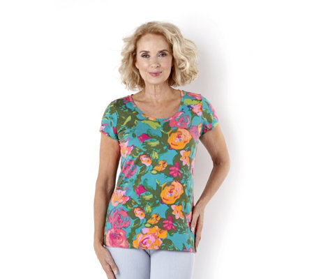 """As Is"" Isaac Mizrahi Live Short Sleeve Floral Print T-Shirt"