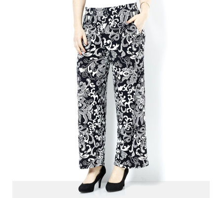 Printed Petite Wide Leg Trouser with Elasticated Waist by Nina Leonard