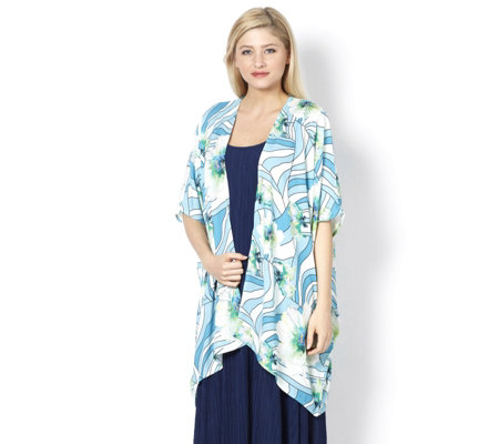 Join Clothes Printed Chiffon Edge to Edge Jacket