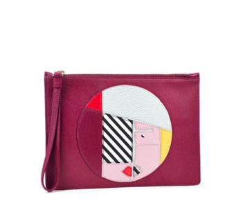 Lulu Guinness Anna Doll Face Medium Leather Grace Pouch - 160722