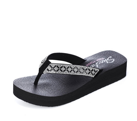 Skechers Vinyasa Criss Cross Platform Flip Flop with Yoga Foam