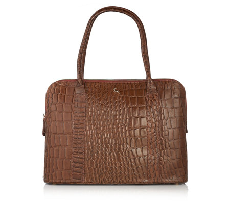 Ashwood Leather Croc Effect Triple Compartment Grab Bag