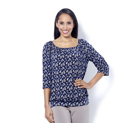 Kim & Co Brushed Venechia Printed Boho Top