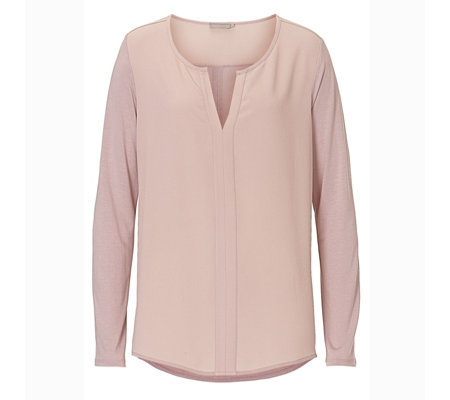 Betty & Co Long Sleeve Notch Front Top