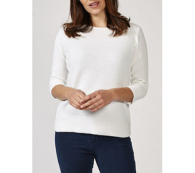 Marble Textured Boat Neck 3/4 Sleeve Fitted Sweater - 169723