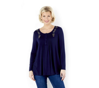 Together Tunic Top with Pintuck & Embroidery - 156224