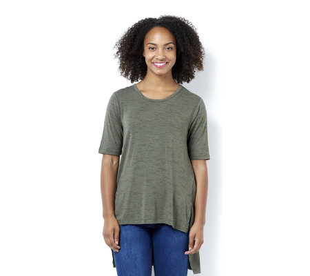 The Lisa Rinna Collection Short Sleeve Knit Top with Front Slits