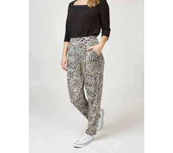 Kim & Co Leopard Breeze Brazil Knit Pleated Trousers with Pockets - 165924