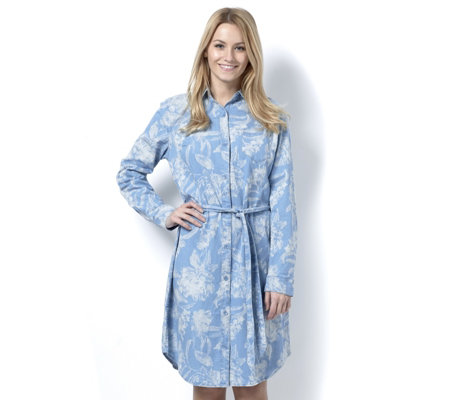 Isaac Mizrahi Live Floral Printed Shirt Dress