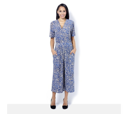 Kim & Co Brushed Venecia Short Sleeve Gaucho Jumpsuit