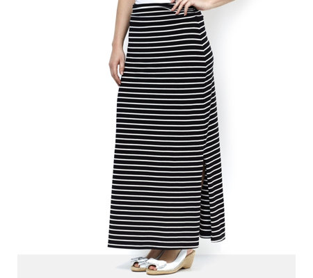 Weekend Striped Stretch Cotton Maxi Skirt by Susan Graver