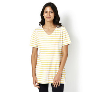 Denim & Co. Striped Short Sleeve V Neck Tunic with Side Slits - 164925