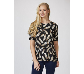 Kim & Co Soft Feather Brushed Venechia Short Sleeve Top - 165925