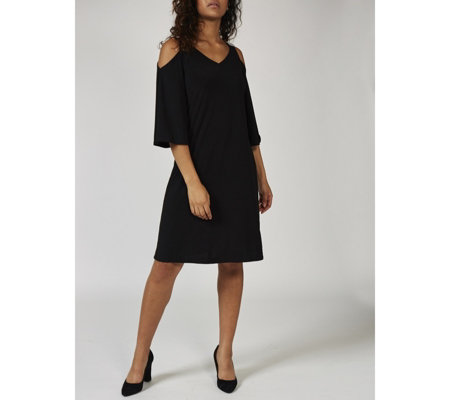 Coco Bianco 3/4 Sleeve Cold Shoulder Swing Dress with Diamonte Detail