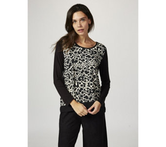 Together Printed Jersey Top with WovenTrim - 165726