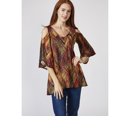 Attitudes by Renee Cold Shoulder Printed Tunic w/ Flared Sleeves