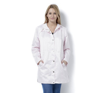 Dennis Basso Water Resistant Satin Hooded Anorak - 164527