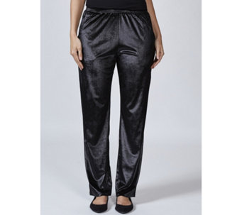 Velvet Tapered Leg Trousers with Pockets by Michele Hope - 167627