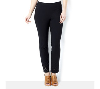 Women with Control Ankle Length Trouser with Laser Cut Detail - 158128
