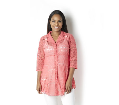 Velvet Burnout Shirt with 3/4 Sleeves by Michele Hope